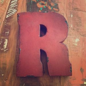 """NWT. Red distressed metal letter """"R"""""""